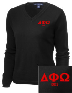 Delta Phi Omega Embroidered Women's V-Neck Sweater