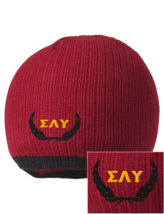 Sigma Lambda Upsilon Embroidered Champion Striped Knit Beanie