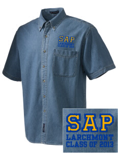 St Augustine Parish Larchmont  Embroidered Men's Denim Short Sleeve