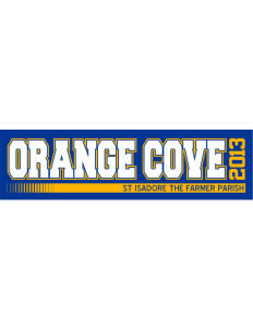 "St Isadore The Farmer Parish Orange Cove Bumper Sticker 11"" x 3"""