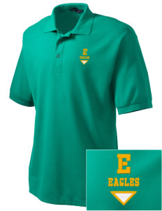 Edgewood Elementary School Eagles Embroidered Men's Silk Touch Polo