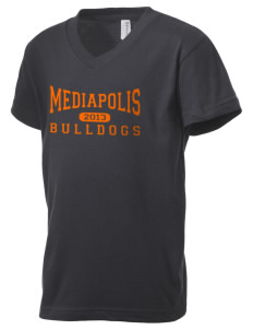 Mediapolis Middle School Bulldogs Kid's V-Neck Jersey T-Shirt