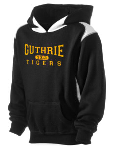 Guthrie Center Junior High School Tigers Kid's Pullover Hooded Sweatshirt with Contrast Color