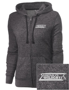 Menlo Elementary School Wildcats Embroidered Women's Marled Full-Zip Hooded Sweatshirt