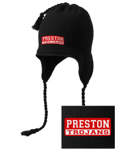 Preston High School Trojans Embroidered Knit Hat with Earflaps