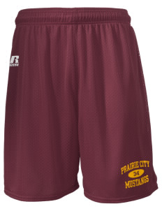 "Prairie City Elementary School Mustangs  Russell Men's Mesh Shorts, 7"" Inseam"