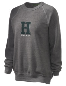 Hoover Elementary School Bulldogs Unisex Alternative Eco-Fleece Raglan Sweatshirt with Distressed Applique