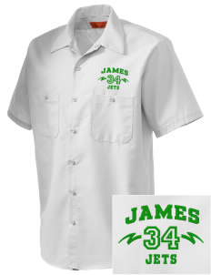James Elementary School Jets Embroidered Men's Cornerstone Industrial Short Sleeve Work Shirt