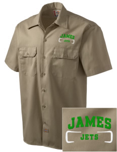 James Elementary School Jets Embroidered Dickies Men's Short-Sleeve Workshirt