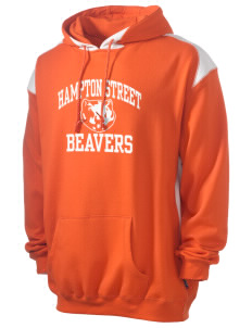 Hampton Street Elementary School Beavers Men's Pullover Hooded Sweatshirt with Contrast Color