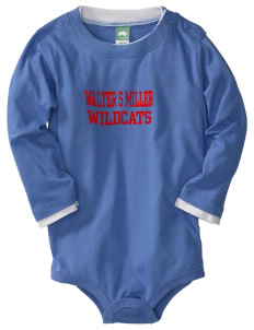 Walter S Miller Elementary School Wildcats  Baby Long Sleeve 1-Piece with Shoulder Snaps