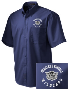 Charles H Russell Elementary School Wildcats Embroidered Men's Easy Care Shirt