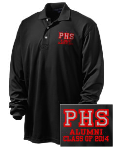 Parkland High School Trojans Embroidered Men's Rapid Dry Long Sleeve Polo