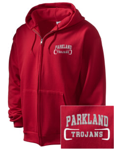 Parkland High School Trojans Embroidered Men's Full Zip Hooded Sweatshirt