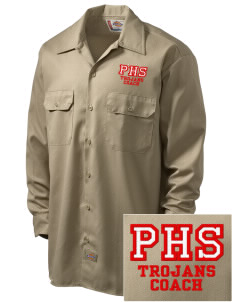 Parkland High School Trojans Embroidered Dickies Men's Long-Sleeve Workshirt