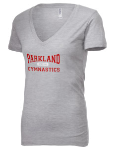 Parkland High School Trojans Women's 4.2 oz Jersey Deep V-Neck T-Shirt