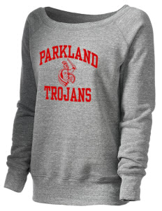 Parkland High School Trojans Women's 8.2 oz. Triblend Slouchy Wide Neck Fleece