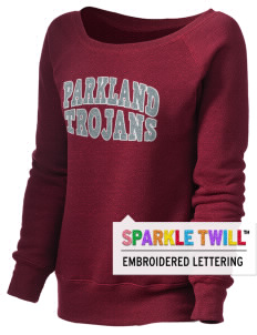 Parkland High School Trojans Women's 8.2 oz. Triblend Slouchy Wide Neck Fleece with Sparkle Twill™