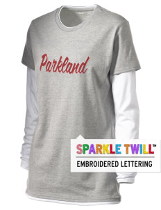 Parkland High School Trojans Women's Long Sleeve Double Layer T-Shirt with Sparkle Twill™
