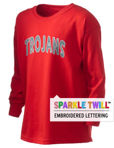 Parkland High School Trojans Kid's 6.1 oz Long Sleeve Ultra Cotton T-Shirt with Sparkle Twill™