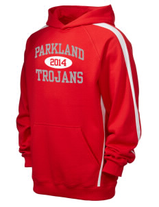 Parkland High School Trojans Men's Tall Sleeve Stripe Pullover Hooded Sweatshirt