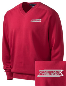 Parkland High School Trojans Embroidered Men's V-Neck Sweater
