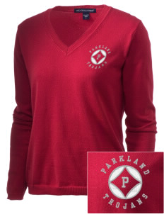 Parkland High School Trojans Embroidered Women's V-Neck Sweater