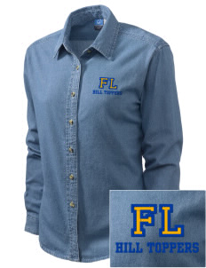 Forest Lane Elementary School Hill Toppers Embroidered Women's Long-Sleeve Denim Shirt