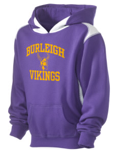 Burleigh Elementary School Vikings Kid's Pullover Hooded Sweatshirt with Contrast Color
