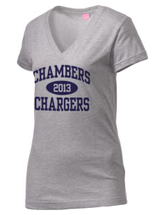 Chambers Elementary School Chargers Juniors' Fine Jersey V-Neck Longer Length T-shirt