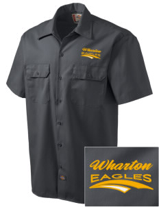 Wharton Elementary School Eagles Embroidered Dickies Men's Short-Sleeve Workshirt