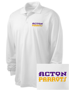 Acton Elementary School Parrots Embroidered Men's Long Sleeve Micropique Sport-Wick Sport Shirt