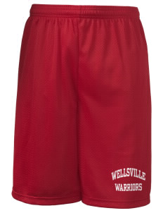 "Wellsville Elementary School Warriors Long Mesh Shorts, 9"" Inseam"