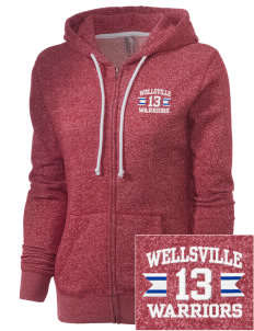 Wellsville Elementary School Warriors Embroidered Women's Marled Full-Zip Hooded Sweatshirt