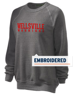 Wellsville Elementary School Warriors Embroidered Unisex Alternative Eco-Fleece Raglan Sweatshirt