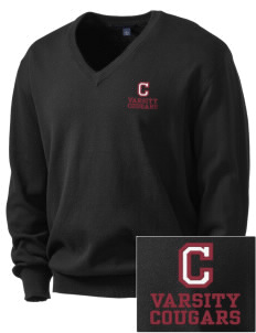 Cosmopolis Elementary School Cougars Embroidered Men's V-Neck Sweater