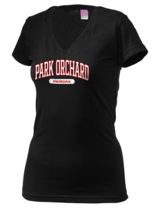 Park Orchard Elementary School Pandas Juniors' Fine Jersey V-Neck Longer Length T-shirt