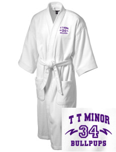 T T Minor Elementary School Bullpups Embroidered Terry Velour Robe