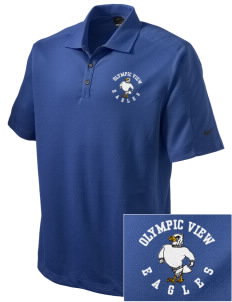 Olympic View Elementary School Eagles Embroidered Nike Men's Dri-FIT Pique II Golf Polo