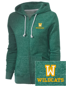 Whitworth Elementary School Wildcats Embroidered Women's Marled Full-Zip Hooded Sweatshirt