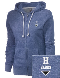 Hawthorne Elementary School Hawks Embroidered Women's Marled Full-Zip Hooded Sweatshirt