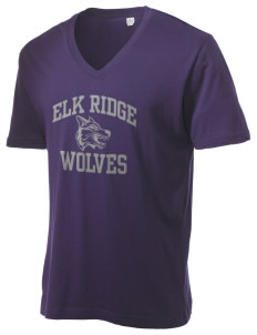 Elk Ridge Elementary School Wolves Alternative Men's 3.7 oz Basic V-Neck T-Shirt