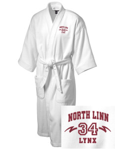 North Linn Elementary School Lynx Embroidered Terry Velour Robe