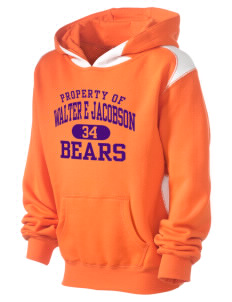 Walter E Jacobson Elementary School Bears Kid's Pullover Hooded Sweatshirt with Contrast Color