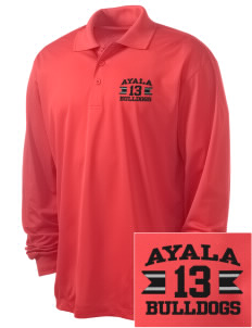 Ayala High School Bulldogs Embroidered Men's Long Sleeve Micropique Sport-Wick Sport Shirt