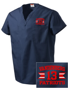 Vandenberg Elementary School Patriots Embroidered V-Neck Scrub Top