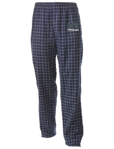 Meadow View School Mountain Lions Men's Button-Fly Collegiate Flannel Pant with Distressed Applique