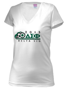 Delta Sigma Phi Juniors' Fine Jersey V-Neck Longer Length T-shirt