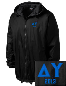 Delta Upsilon Embroidered Dickies Men's Fleece-Lined Hooded Jacket