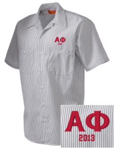 Alpha Phi  Embroidered Mens' Industrial Short Sleeve Work Shirt w/Melamine Button
